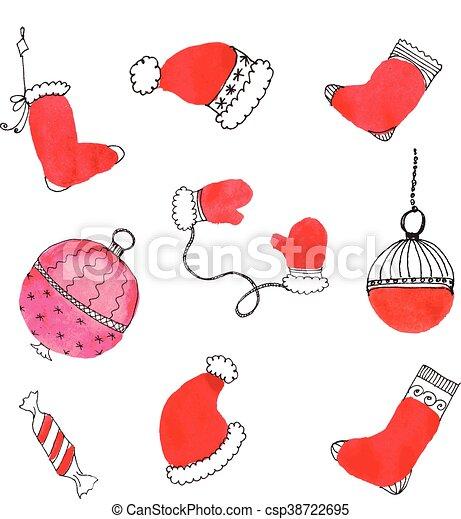 Aquarell Gezeichnet Doodle Weihnachten Hand Doodle