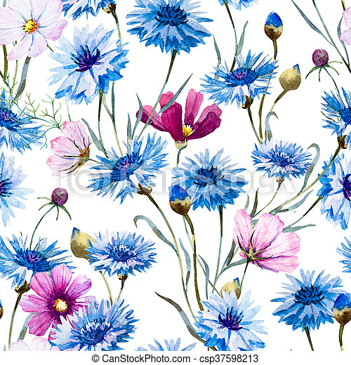 aquarell kornblume muster sch ne muster hand aquarell gezeichnet cornflowers nett. Black Bedroom Furniture Sets. Home Design Ideas