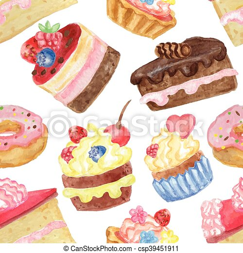 aquarell lieb kuchen seamless muster csp39451911 - Kuchen Muster