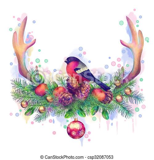 Aquarell weihnachten fr hlich zeichnung frohe weihnacht hintergrund drawing kegel - Aquarell weihnachten ...
