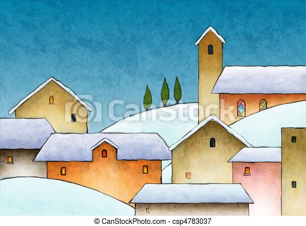 Aquarell weihnachten illustration digital schneebedeckte dorf weihnachten w hrend - Aquarell weihnachten ...