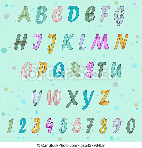 Alphabet Artistique aquarelle, alphabet, artistique, coloré. bleu, alphabet., coloré