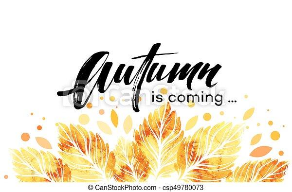 aquarelle, banner., peint, feuilles, illustration, automne, vecteur, fond, automne, design. - csp49780073