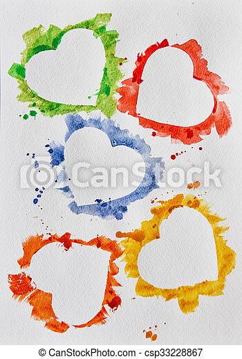aquarelle, cœurs, fond blanc - csp33228867