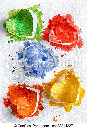 aquarelle, cœurs, fond blanc - csp33214227
