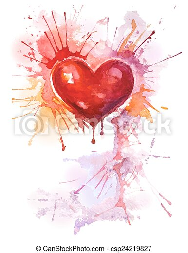 aquarelle, coeur, fond, vertical, rouges - csp24219827