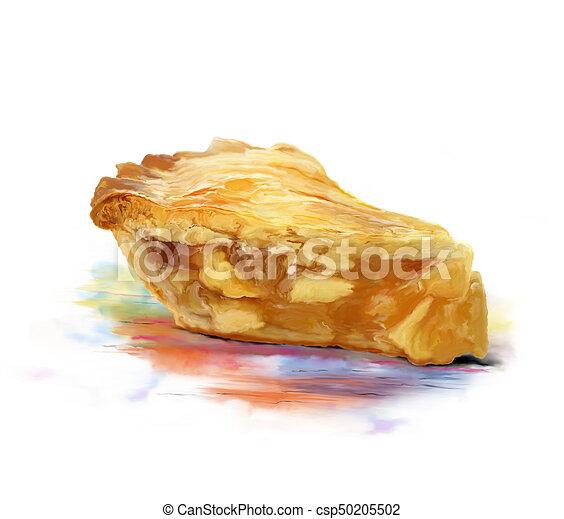 aquarelle, couper, tarte aux pommes - csp50205502