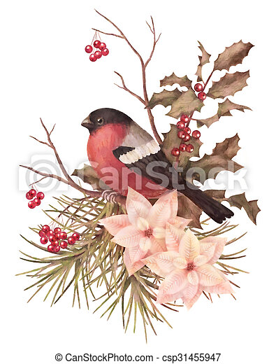 aquarelle, décoratif, retro, composition, noël - csp31455947