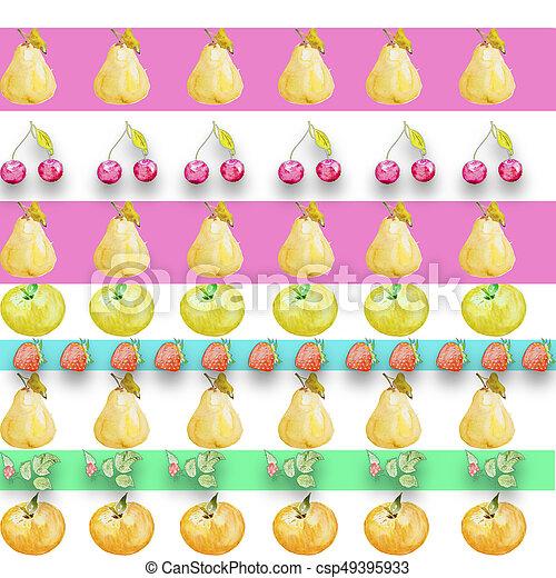 aquarelle, différent, dessin, fruits - csp49395933