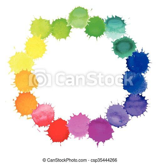 aquarelle, eclabousse, coloré - csp35444266