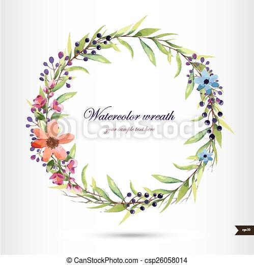 Aquarelle fleurs couronne illustration aquarelle - Clipart couronne ...