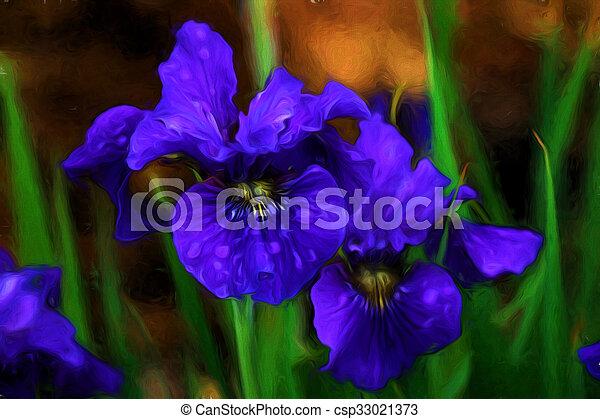 aquarelle, iris - csp33021373