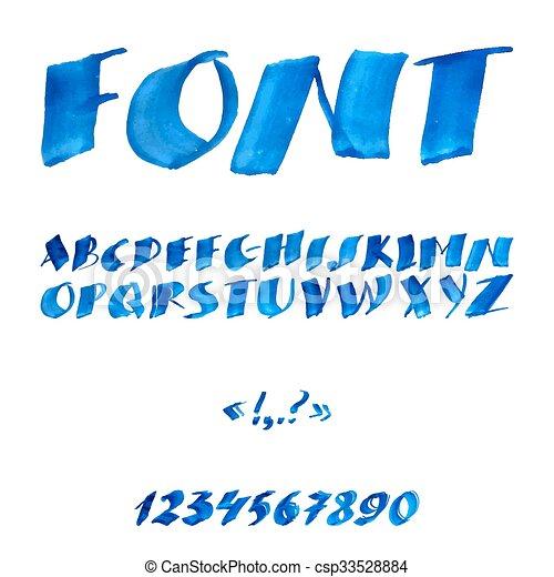 aquarelle, manuscrit, alphabet, symbols., nombres - csp33528884