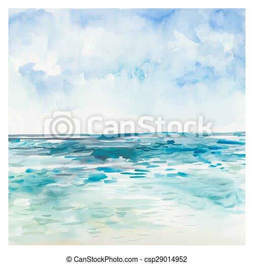 Aquarelle Mer Fond Ete Paysage Main Aquarelle Arriere Plan Mer Dessine Painting Marin