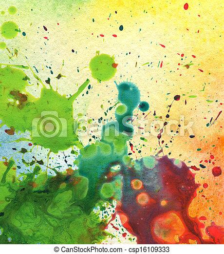 aquarelle, résumé, tache, peinture, fond - csp16109333