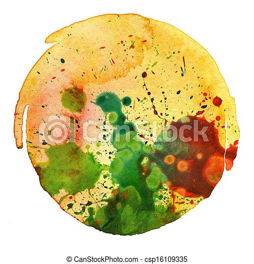 aquarelle, résumé, tache, peinture, fond - csp16109335