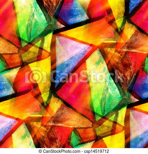 aquarelle, triangle, couleur, modèle, résumé, seamless, texture, eau, peinture, jaune, conception, papier, fond, vert, art, rouges - csp14519712