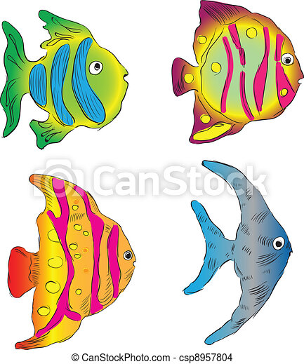 Aquarium Fish Ornamental Fish From The Southern Seas Vector