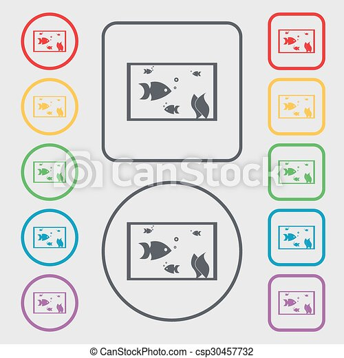 Aquarium, Fish in water icon sign. Symbols on the Round and square buttons with frame. Vector - csp30457732