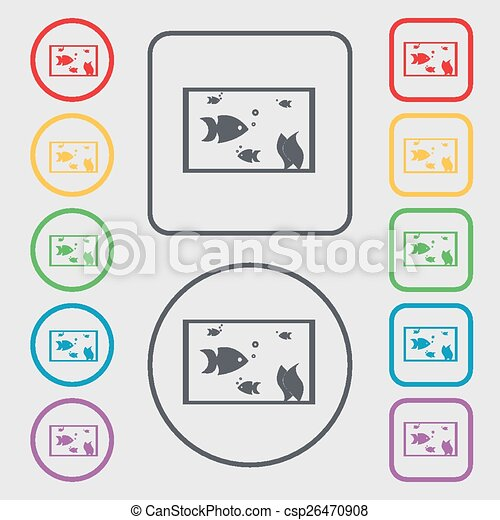Aquarium, Fish in water icon sign. symbol on the Round and square buttons with frame. Vector - csp26470908
