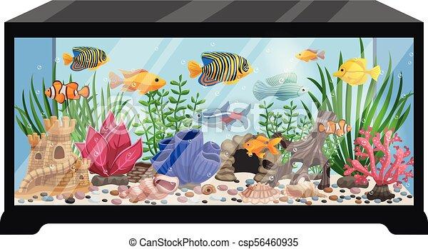 Aquarium Tank Cartoon Illustration Aquarium Tank Cartoon Vector