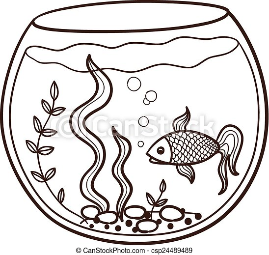 Aquarium With A Fish Sketch Animal Character Eps 10 Vector