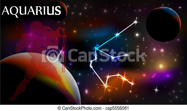 Aquarius Astrological Sign and copy space - csp5556081