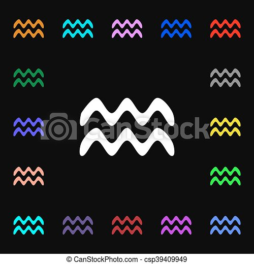 Aquarius Icon Sign Lots Of Colorful Symbols For Your Design Vector