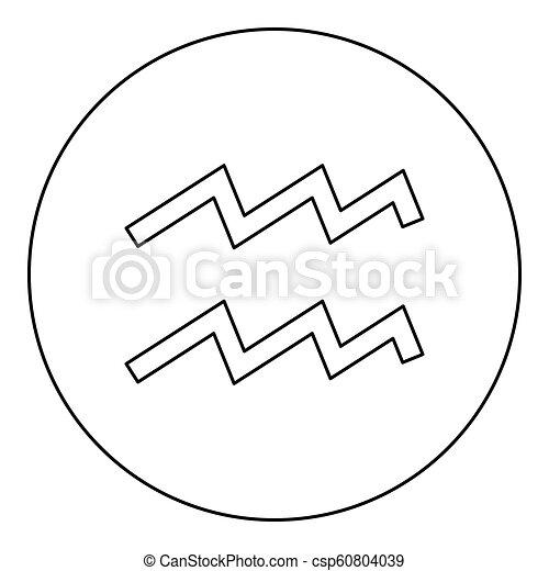 Aquarius Symbol Zodiac Icon Black Color In Round Circle Outline