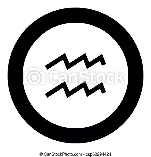 Aquarius Symbol Zodiac Icon Black Color In Round Circle Vector