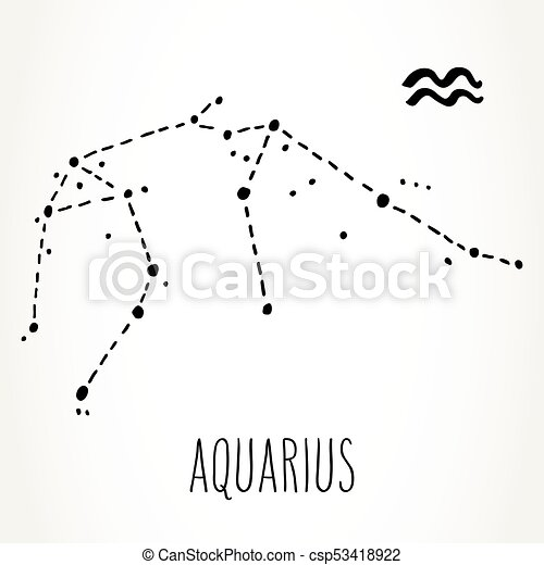 aquarius zodiac sign constellation aquarius hand drawn zodiac sign