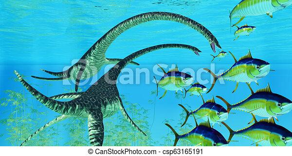 Aquatic Reptile Elasmosaurus - csp63165191