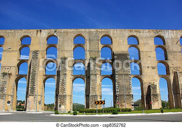 Aqueduct in old city of Elvas, south of Portugal. - csp8352762