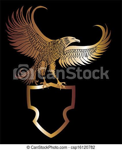 aquila, vettore, arte, scudo, oro - csp16120782