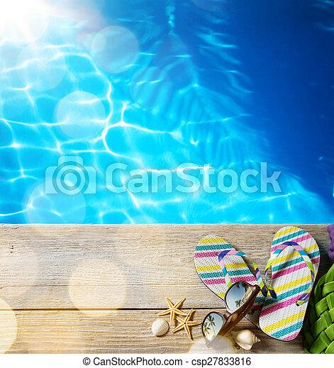 Verano de playa; accesorios de playa - csp27833816