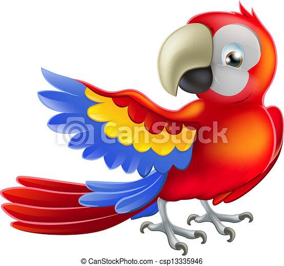 ara, papegoja, illustration, röd - csp13335946