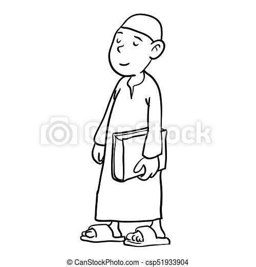 arab boy holding a book hand drawn vector illustration of arab boy