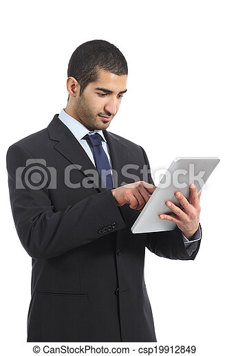 Arab business man working using a tablet - csp19912849