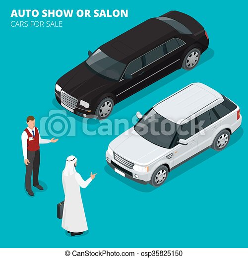 Arab Businessman Chooses Luxury Car Flat 3d Vector Clipart
