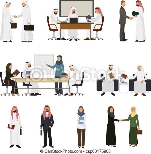 Arab businessman vector arabian business people handshaking to his business partner illustration set of arabic businesswoman working in office isolated on white background - csp60175903