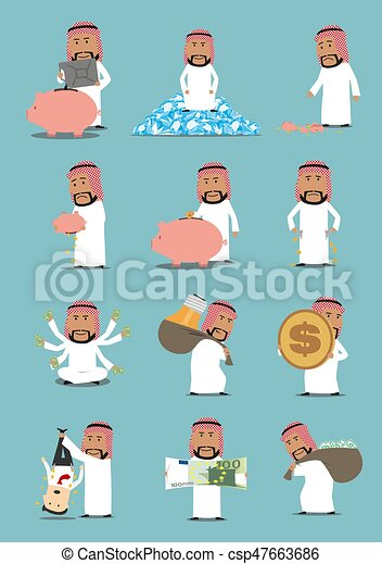 Arab Businessman With Money Cartoon Character Set Rich Arabian Man