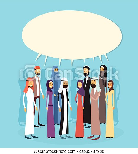 Arab Businesspeople Group Chat Bubble Communication Concept, Muslim Business People Talking Arabic Social Network - csp35737988