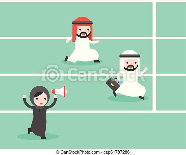 Arab Businesswoman holding megaphone cheer up two arab businessman running in track to reach goal, fair competition business concept - csp61787286