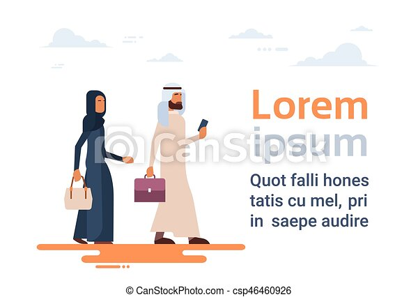 Arab Couple Muslim People Business Man and Woman Traditional Clothes Arabic Characters - csp46460926