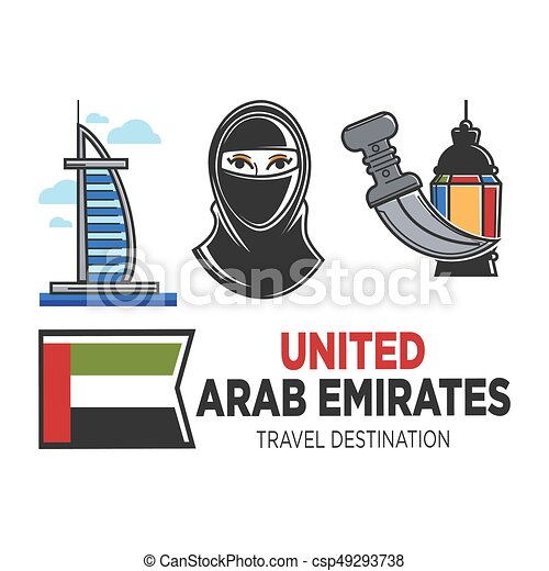 Arab Emirates travel and culture vector symbols