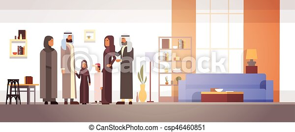 Arab Family Home, Arabic Parents With Children In Modern Apartment - csp46460851