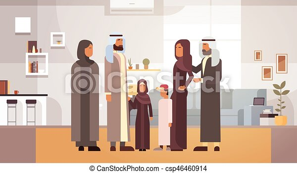 Arab Family Home, Arabic Parents With Children In Modern Apartment - csp46460914