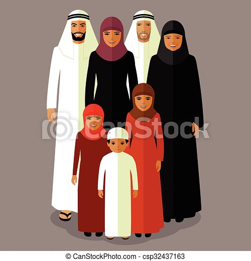 Vector arab family, muslim people, saudi cartoon man and ...