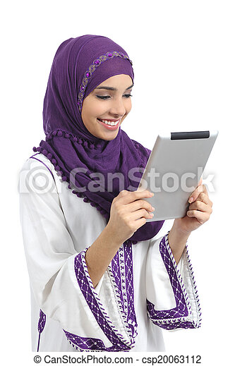 Arab happy woman reading a tablet reader - csp20063112