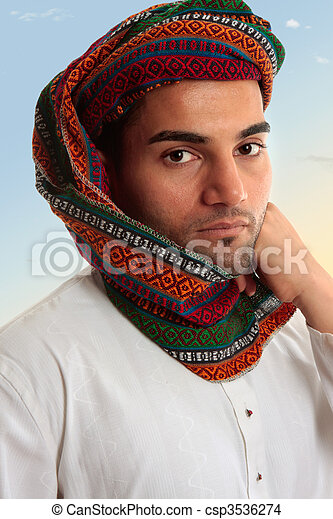 Arab Man in traditional turban keffiyeh - csp3536274